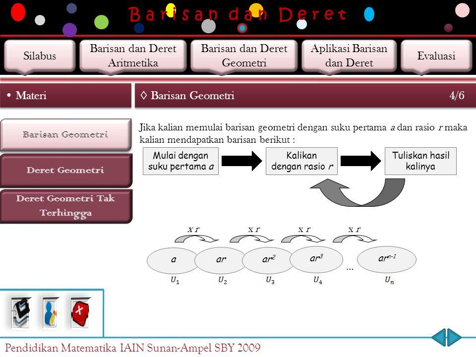 B a r i s a n d a n D e r e t Barisan Geometri Deret Geometri Materi ◊ Barisan Geometri 3/6 Deret Geometri Tak Terhingga Barisan geometri adalah suatu