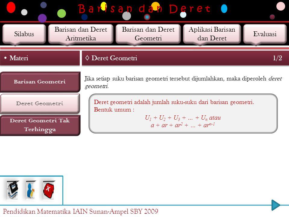 B a r i s a n d a n D e r e t Barisan Geometri Deret Geometri Materi Deret Geometri Tak Terhingga ◊ Barisan Geometri Contoh 6/6 b. Suku ke-8 barisan g