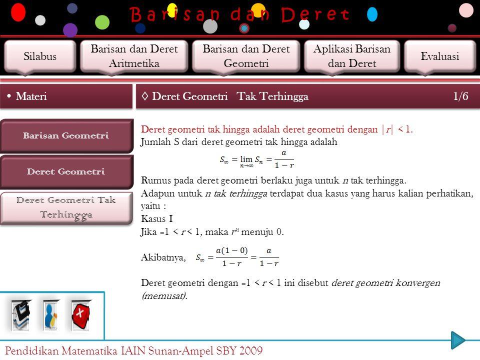 B a r i s a n d a n D e r e t Deret Geometri Barisan Geometri Materi Deret Geometri Tak Terhingga ◊ Deret Geometri 2/2 S n = a + ar + ar 2 + … + ar n-