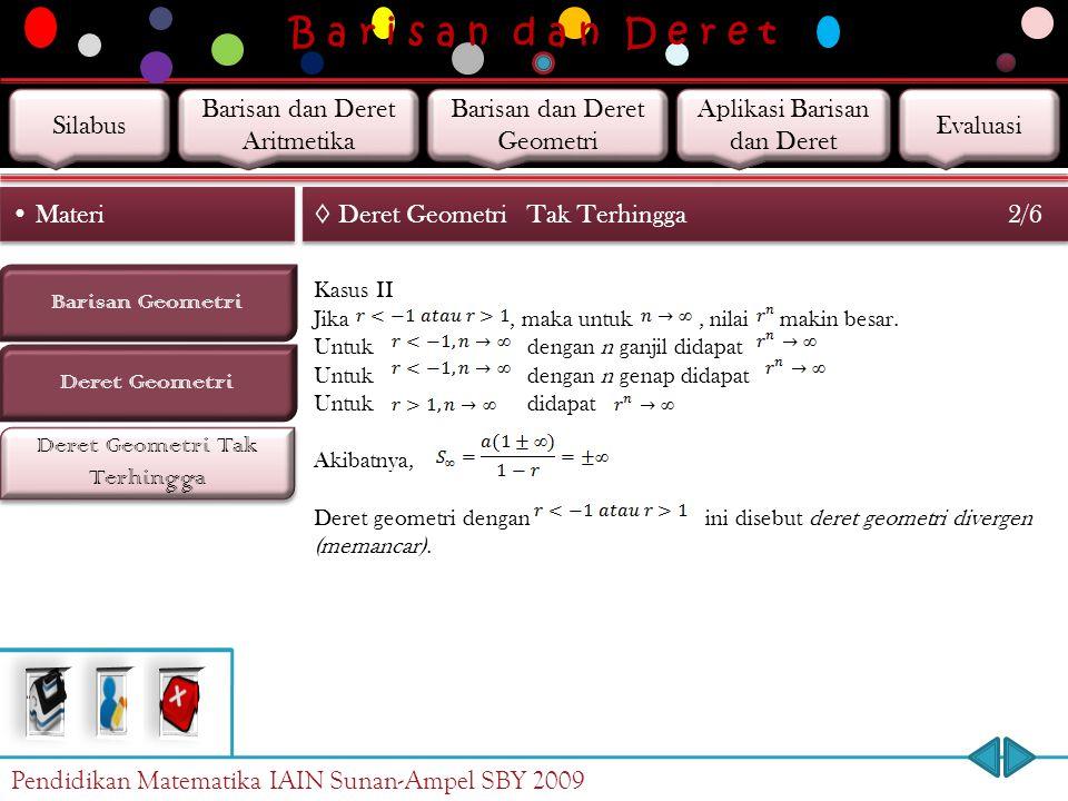 B a r i s a n d a n D e r e t Deret Geometri Tak Terhingga Barisan Geometri Materi Deret Geometri ◊ Deret GeometriTak Terhingga 1/6 Deret geometri tak