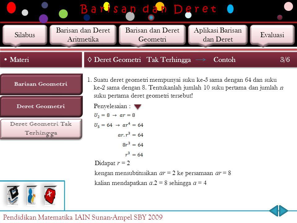 B a r i s a n d a n D e r e t Deret Geometri Tak Terhingga Barisan Geometri Materi Deret Geometri ◊ Deret GeometriTak Terhingga 2/6 Kasus II Jika, mak