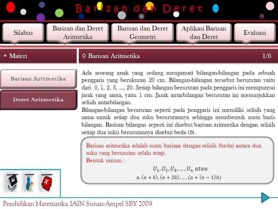 B a r i s a n d a n D e r e t Barisan Aritmetika Deret Aritmetika Materi ◊ Barisan Aritmetika 1/6 Ada seorang anak yang sedang mengamati bilangan-bilangan pada sebuah penggaris yang berukuran 20 cm.