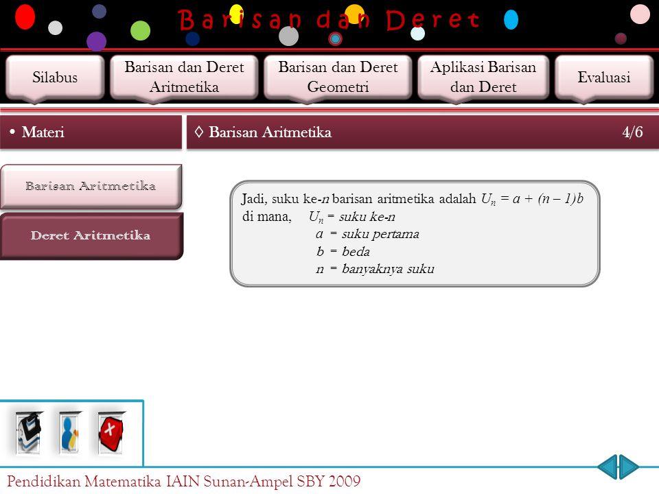 B a r i s a n d a n D e r e t Barisan Aritmetika Deret Aritmetika Materi ◊ Barisan Aritmetika 4/6 Jadi, suku ke-n barisan aritmetika adalah U n = a + (n – 1)b di mana, U n = suku ke-n a = suku pertama b = beda n = banyaknya suku Pendidikan Matematika IAIN Sunan-Ampel SBY 2009 Silabus Barisan dan Deret Aritmetika Barisan dan Deret Geometri Aplikasi Barisan dan Deret Evaluasi