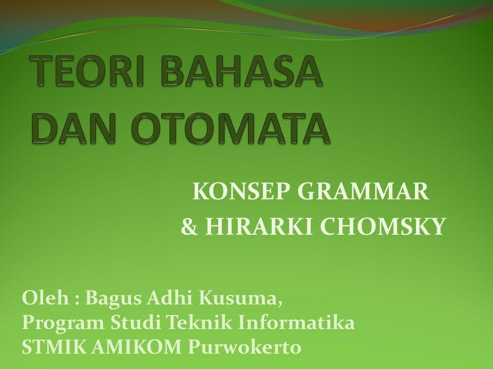 KONSEP GRAMMAR & HIRARKI CHOMSKY Oleh : Bagus Adhi Kusuma, Program Studi Teknik Informatika STMIK AMIKOM Purwokerto