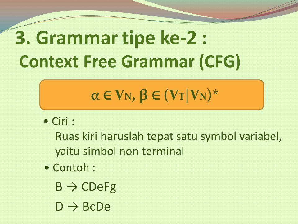 3. Grammar tipe ke-2 : Context Free Grammar (CFG) Ciri : α ∈ V N, β ∈ (V T |V N )* Ruas kiri haruslah tepat satu symbol variabel, yaitu simbol non ter