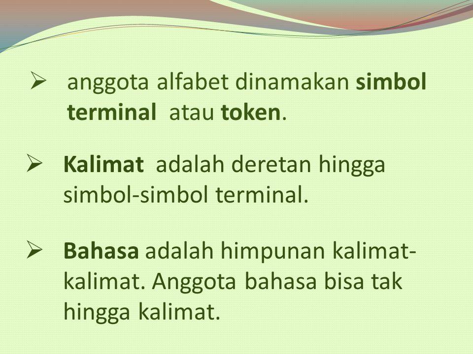 anggota alfabet dinamakan simbol terminal atau token.  Kalimat adalah deretan hingga simbol-simbol terminal.  Bahasa adalah himpunan kalimat- kali