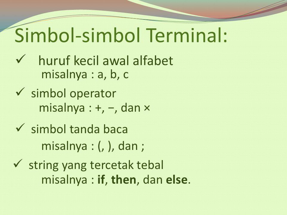 Simbol-simbol Terminal: huruf kecil awal alfabet misalnya : a, b, c simbol operator misalnya : +, −, dan × simbol tanda baca misalnya : (, ), dan ; st