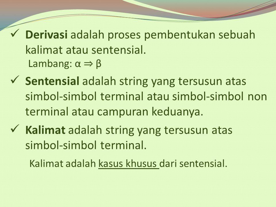 Derivasi adalah proses pembentukan sebuah kalimat atau sentensial. Lambang: α ⇒ β Sentensial adalah string yang tersusun atas simbol-simbol terminal a