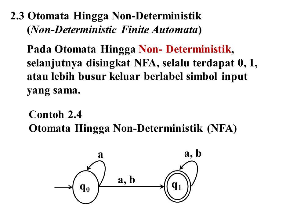 2.3 Otomata Hingga Non-Deterministik (Non-Deterministic Finite Automata) Pada Otomata Hingga Non- Deterministik, selanjutnya disingkat NFA, selalu ter