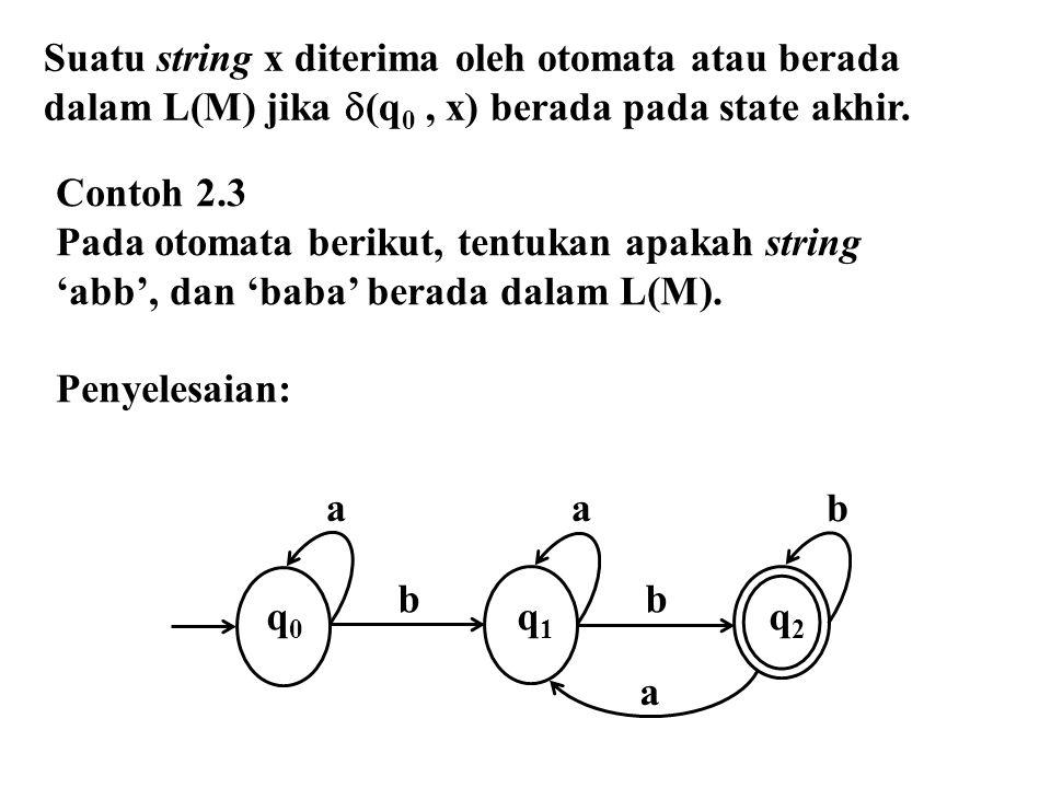 a a b a b q 0 q 1 q 2 Contoh 2.3 Pada otomata berikut, tentukan apakah string 'abb', dan 'baba' berada dalam L(M). Penyelesaian: Suatu string x diteri