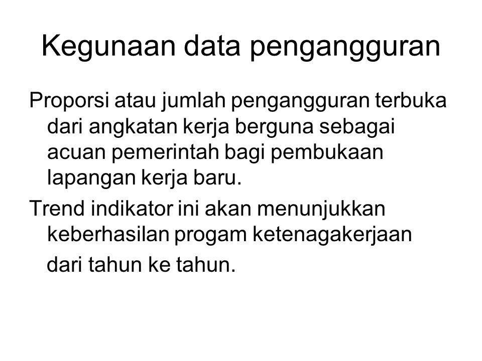 Kegunaan data pengangguran Proporsi atau jumlah pengangguran terbuka dari angkatan kerja berguna sebagai acuan pemerintah bagi pembukaan lapangan kerj
