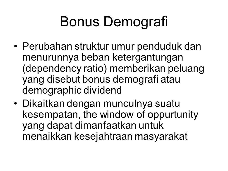 Bonus Demografi Perubahan struktur umur penduduk dan menurunnya beban ketergantungan (dependency ratio) memberikan peluang yang disebut bonus demografi atau demographic dividend Dikaitkan dengan munculnya suatu kesempatan, the window of oppurtunity yang dapat dimanfaatkan untuk menaikkan kesejahtraan masyarakat