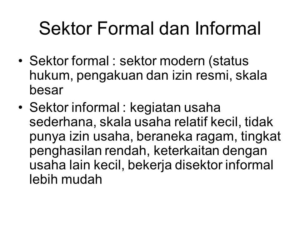 Sektor Formal dan Informal Sektor formal : sektor modern (status hukum, pengakuan dan izin resmi, skala besar Sektor informal : kegiatan usaha sederha