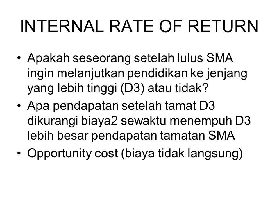 INTERNAL RATE OF RETURN Apakah seseorang setelah lulus SMA ingin melanjutkan pendidikan ke jenjang yang lebih tinggi (D3) atau tidak? Apa pendapatan s
