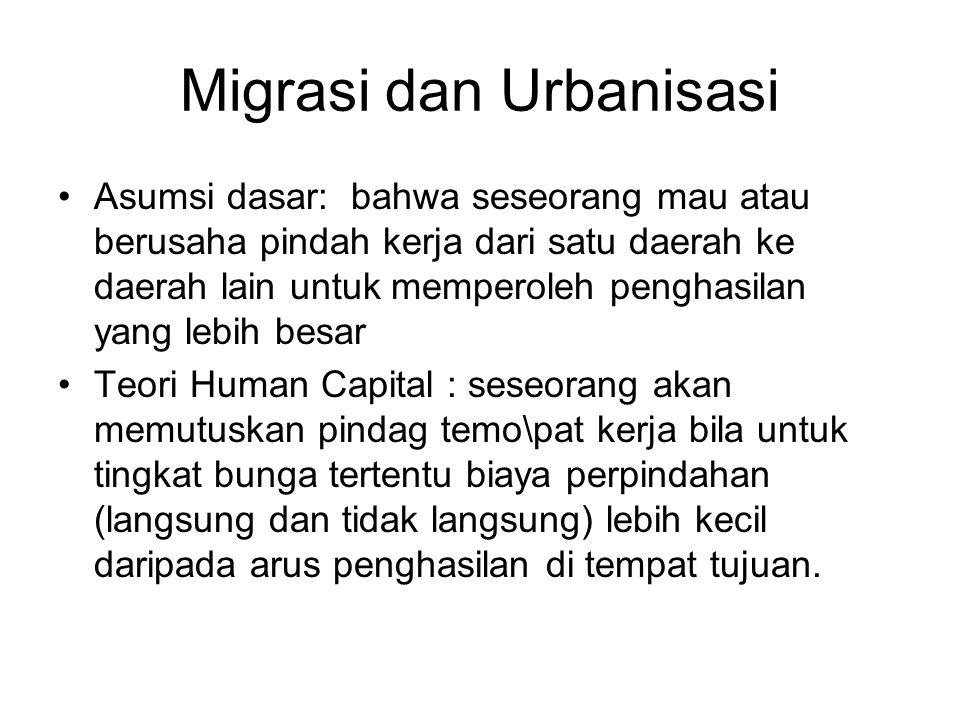 Migrasi dan Urbanisasi Asumsi dasar: bahwa seseorang mau atau berusaha pindah kerja dari satu daerah ke daerah lain untuk memperoleh penghasilan yang