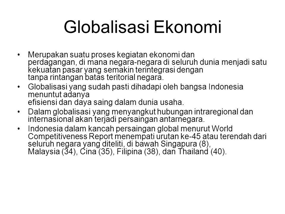 Globalisasi Ekonomi Merupakan suatu proses kegiatan ekonomi dan perdagangan, di mana negara-negara di seluruh dunia menjadi satu kekuatan pasar yang semakin terintegrasi dengan tanpa rintangan batas teritorial negara.