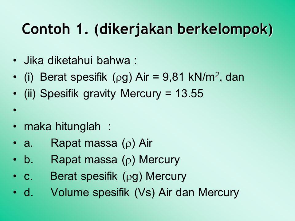 Contoh 1. (dikerjakan berkelompok) Jika diketahui bahwa : (i) Berat spesifik (  g) Air = 9,81 kN/m 2, dan (ii) Spesifik gravity Mercury = 13.55 maka