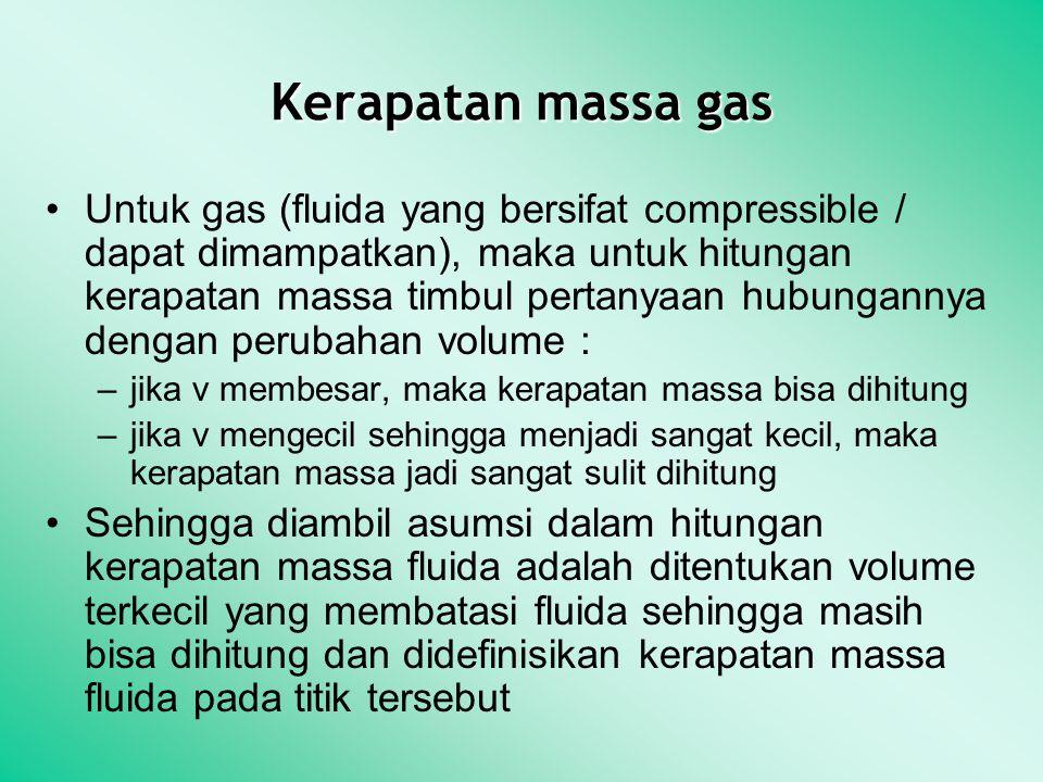Kerapatan massa gas Untuk gas (fluida yang bersifat compressible / dapat dimampatkan), maka untuk hitungan kerapatan massa timbul pertanyaan hubungann