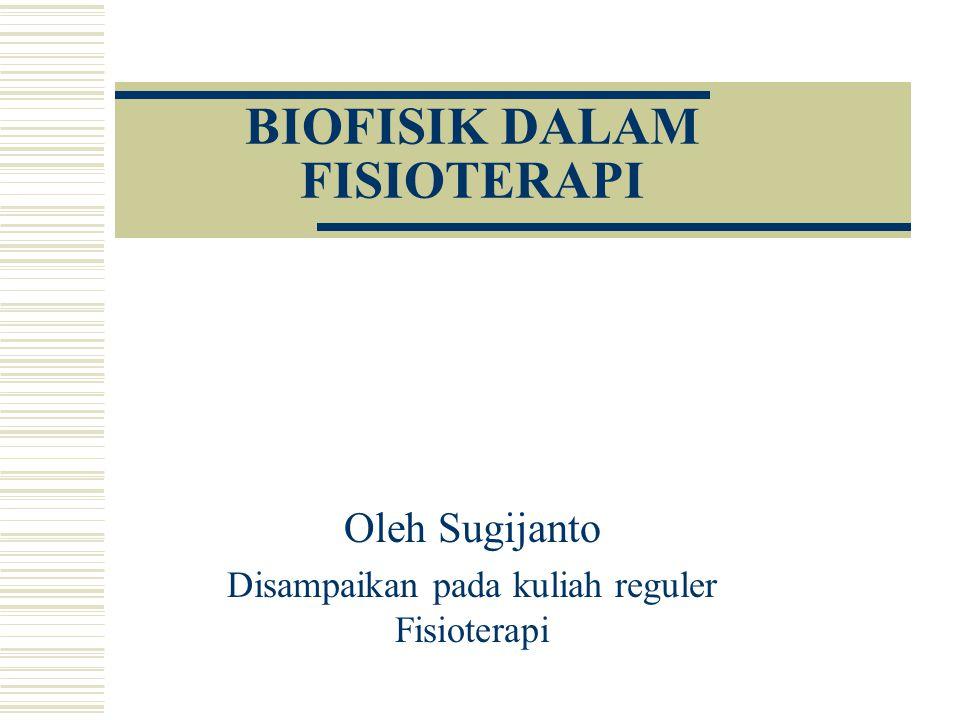 BIOFISIK DALAM FISIOTERAPI Oleh Sugijanto Disampaikan pada kuliah reguler Fisioterapi