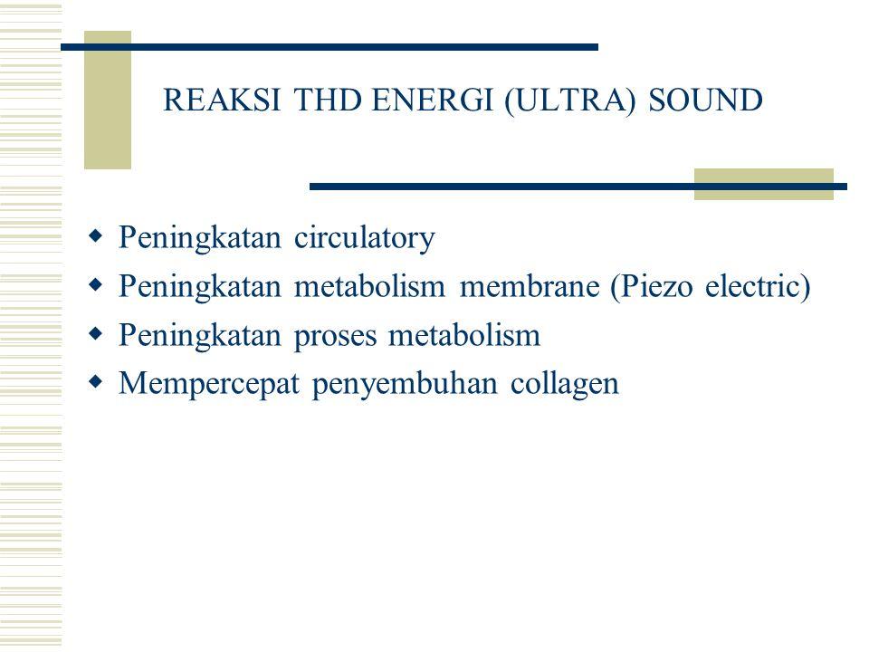 REAKSI THD ENERGI (ULTRA) SOUND  Peningkatan circulatory  Peningkatan metabolism membrane (Piezo electric)  Peningkatan proses metabolism  Memperc