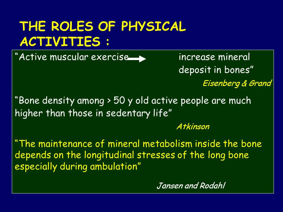 THE ROLES OF PHYSICAL ACTIVITIES : Active muscular exercise increase mineral deposit in bones Eisenberg & Grand Bone density among > 50 y old active people are much higher than those in sedentary life Atkinson The maintenance of mineral metabolism inside the bone depends on the longitudinal stresses of the long bone especially during ambulation Jansen and Rodahl