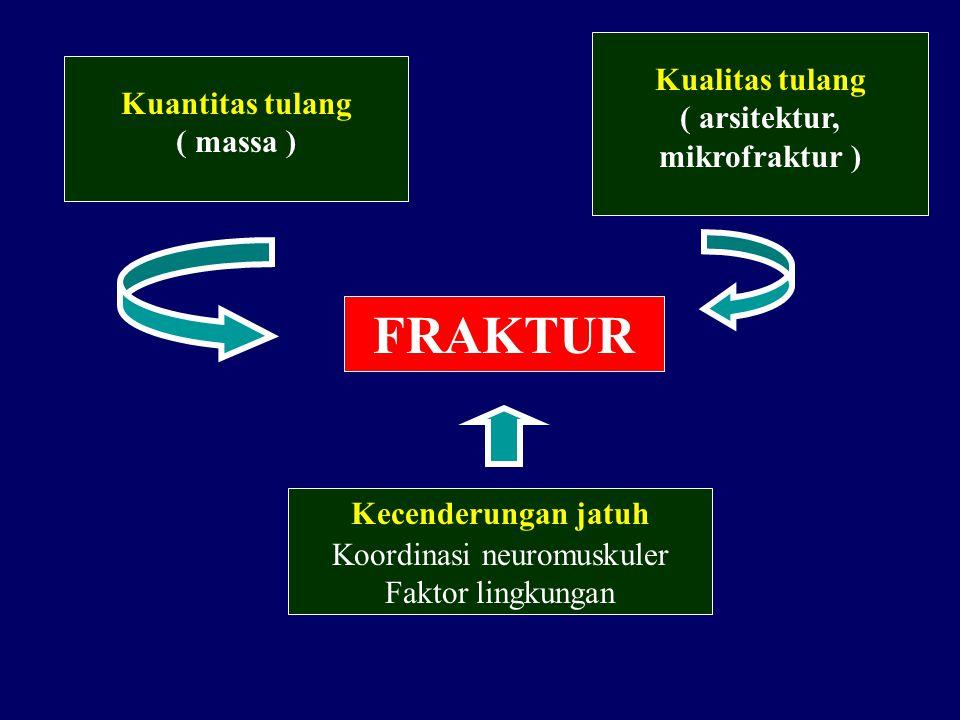 FRAKTUR Kuantitas tulang ( massa ) Kualitas tulang ( arsitektur, mikrofraktur ) Kecenderungan jatuh Koordinasi neuromuskuler Faktor lingkungan