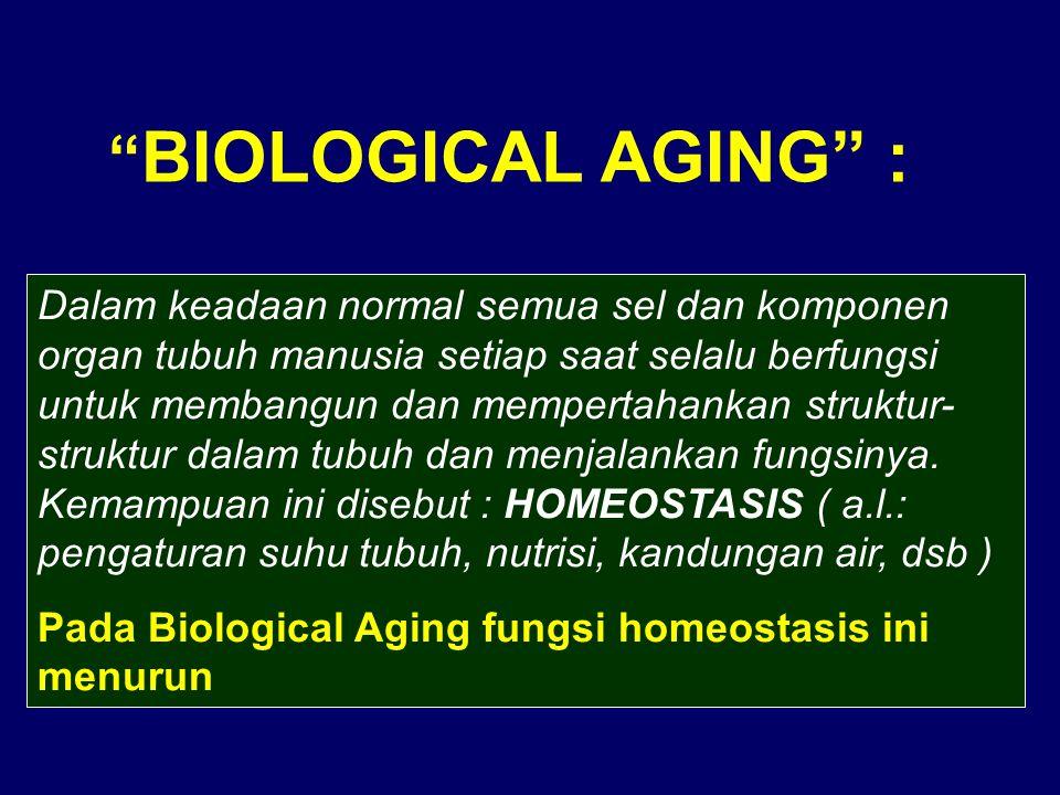 """"""" BIOLOGICAL AGING"""" : Dalam keadaan normal semua sel dan komponen organ tubuh manusia setiap saat selalu berfungsi untuk membangun dan mempertahankan"""