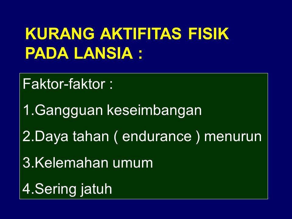 KURANG AKTIFITAS FISIK PADA LANSIA : Faktor-faktor : 1.Gangguan keseimbangan 2.Daya tahan ( endurance ) menurun 3.Kelemahan umum 4.Sering jatuh