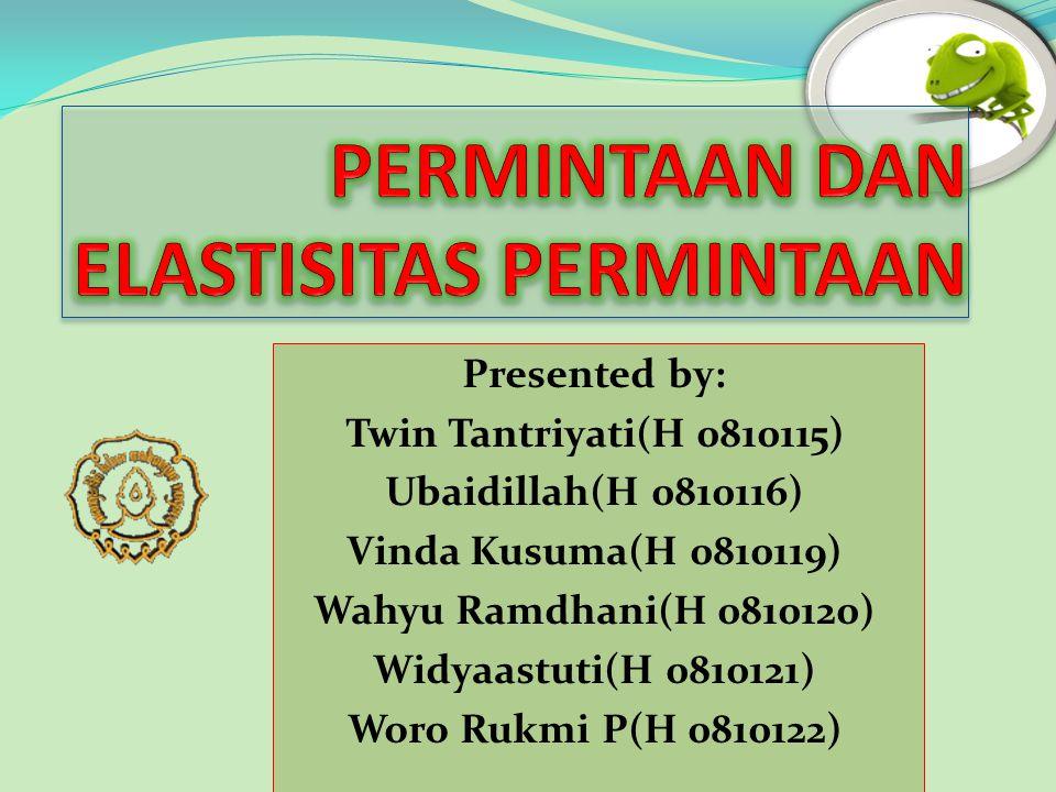 Presented by: Twin Tantriyati(H 0810115) Ubaidillah(H 0810116) Vinda Kusuma(H 0810119) Wahyu Ramdhani(H 0810120) Widyaastuti(H 0810121) Woro Rukmi P(H 0810122)