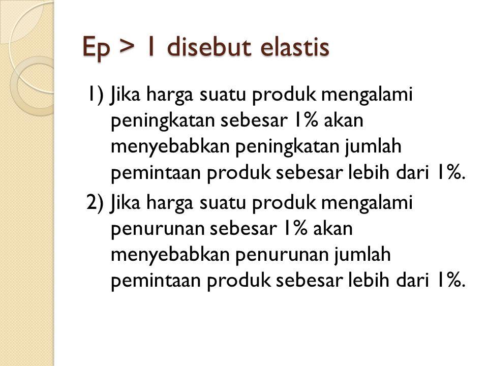 Ep > 1 disebut elastis 1)Jika harga suatu produk mengalami peningkatan sebesar 1% akan menyebabkan peningkatan jumlah pemintaan produk sebesar lebih d