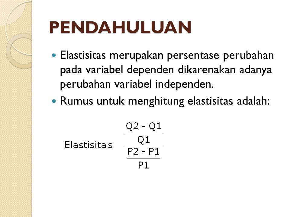 Rumus elastisitas yang dimodifikasi Perhitungan untuk menghitung elastistisitas dengan menggunakan rumus ini mempunyai kelemahan, yaitu angka elastisitas akan berubah kalau data yang sama dibalik susunannya.