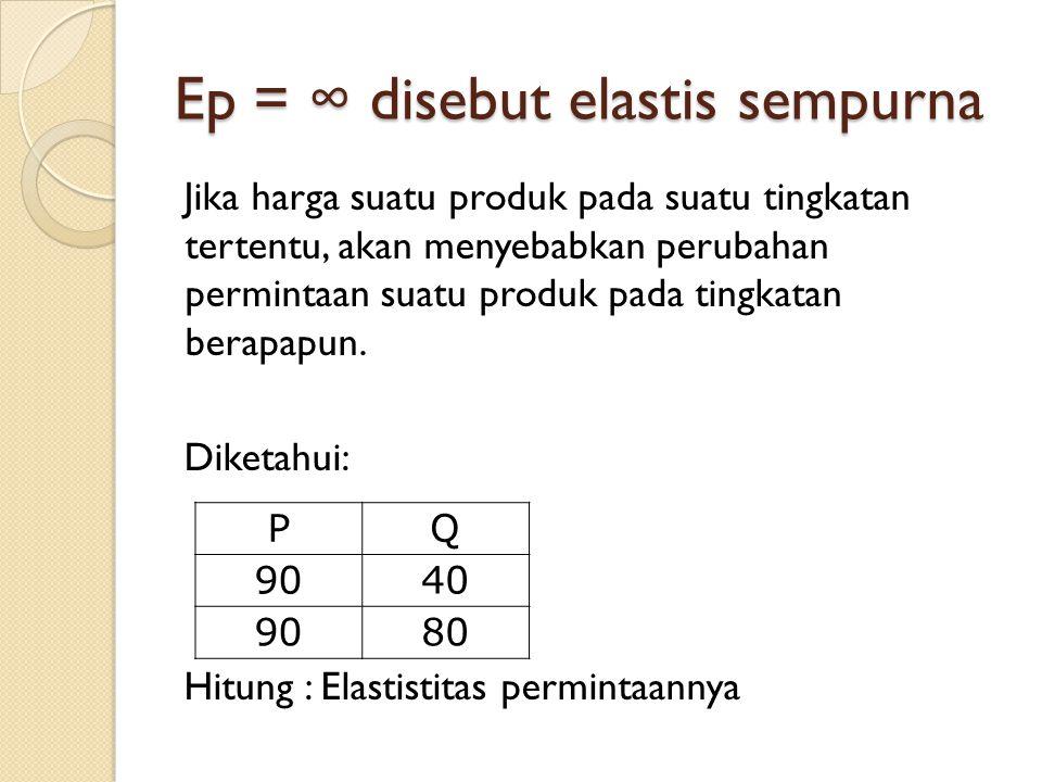 Ep = ∞ disebut elastis sempurna Jika harga suatu produk pada suatu tingkatan tertentu, akan menyebabkan perubahan permintaan suatu produk pada tingkat