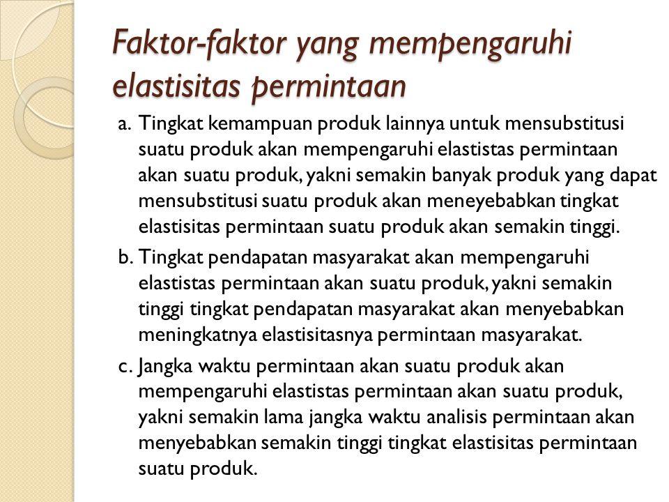Faktor-faktor yang mempengaruhi elastisitas permintaan a.Tingkat kemampuan produk lainnya untuk mensubstitusi suatu produk akan mempengaruhi elastista