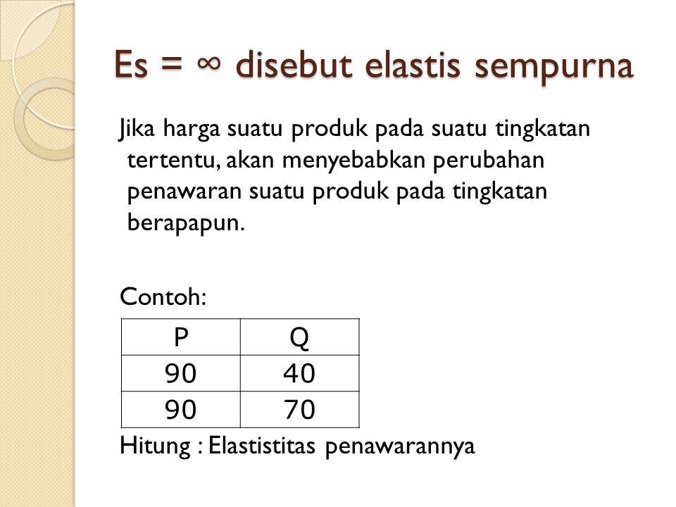 Es = ∞ disebut elastis sempurna Jika harga suatu produk pada suatu tingkatan tertentu, akan menyebabkan perubahan penawaran suatu produk pada tingkata