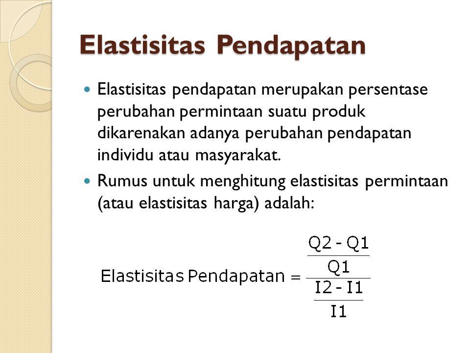 Elastisitas Pendapatan Elastisitas pendapatan merupakan persentase perubahan permintaan suatu produk dikarenakan adanya perubahan pendapatan individu