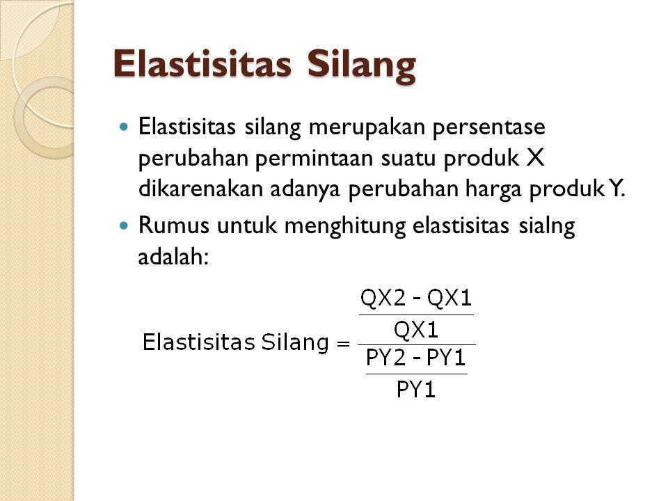 Elastisitas Silang Elastisitas silang merupakan persentase perubahan permintaan suatu produk X dikarenakan adanya perubahan harga produk Y. Rumus untu