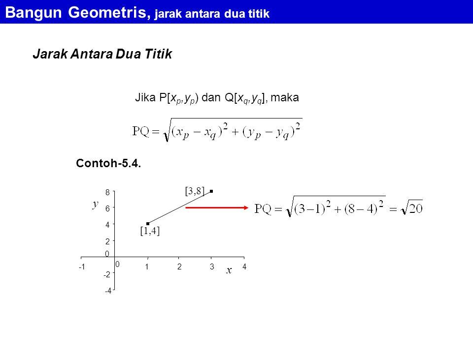 Jarak Antara Dua Titik Jika P[x p,y p ) dan Q[x q,y q ], maka Bangun Geometris, jarak antara dua titik Contoh-5.4.