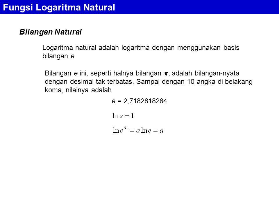 Bilangan Natural Fungsi Logaritma Natural Logaritma natural adalah logaritma dengan menggunakan basis bilangan e Bilangan e ini, seperti halnya bilangan , adalah bilangan-nyata dengan desimal tak terbatas.