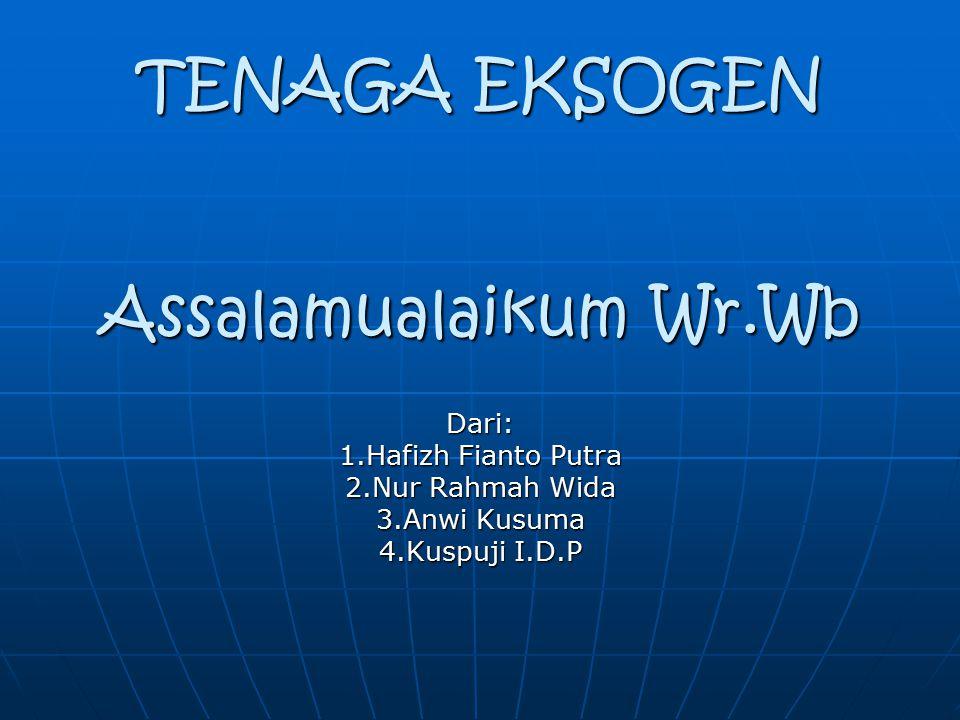 TENAGA EKSOGEN Assalamualaikum Wr.Wb Dari: 1.Hafizh Fianto Putra 2.Nur Rahmah Wida 3.Anwi Kusuma 4.Kuspuji I.D.P