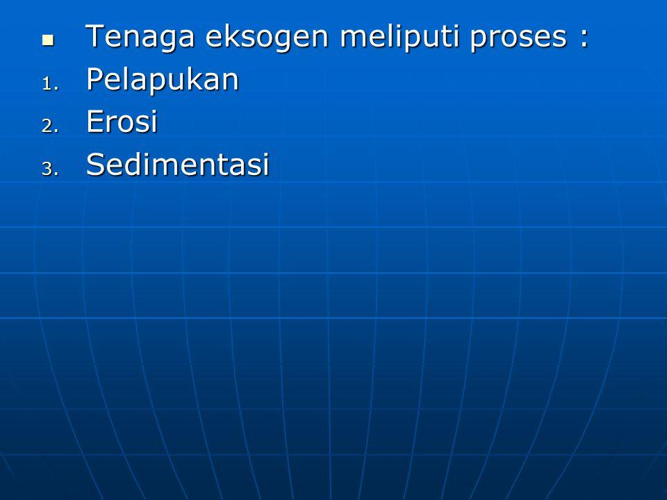 Tenaga eksogen meliputi proses : 1. P elapukan 2. E rosi 3. S edimentasi
