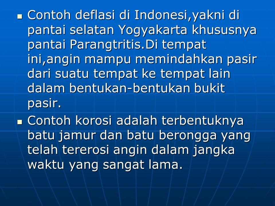 Contoh deflasi di Indonesi,yakni di pantai selatan Yogyakarta khususnya pantai Parangtritis.Di tempat ini,angin mampu memindahkan pasir dari suatu tem