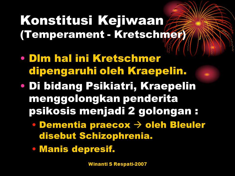 Winanti S Respati-2007 Konstitusi Kejiwaan (Temperament - Kretschmer) Dlm hal ini Kretschmer dipengaruhi oleh Kraepelin. Di bidang Psikiatri, Kraepeli