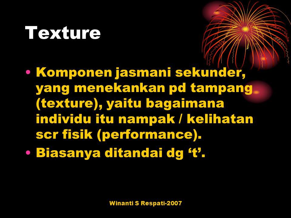 Winanti S Respati-2007 Texture Komponen jasmani sekunder, yang menekankan pd tampang (texture), yaitu bagaimana individu itu nampak / kelihatan scr fi