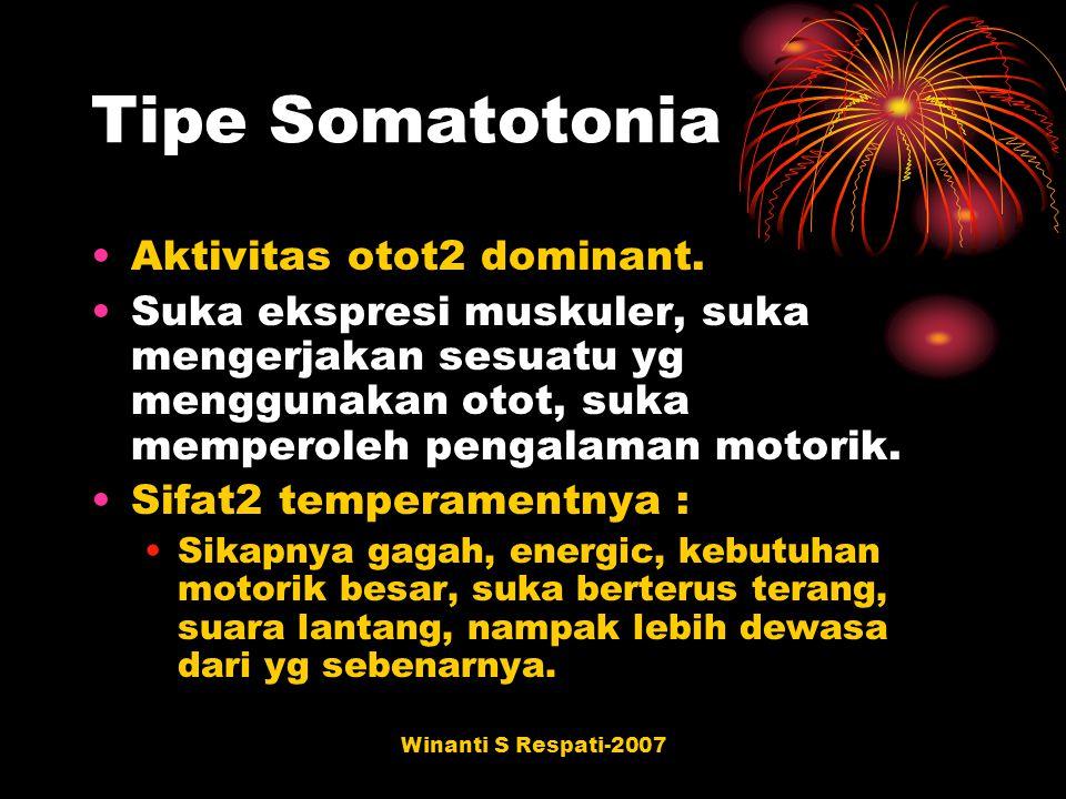Winanti S Respati-2007 Tipe Somatotonia Aktivitas otot2 dominant. Suka ekspresi muskuler, suka mengerjakan sesuatu yg menggunakan otot, suka memperole