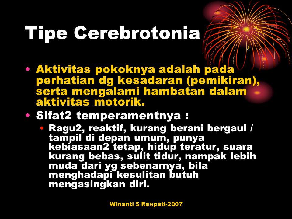 Winanti S Respati-2007 Tipe Cerebrotonia Aktivitas pokoknya adalah pada perhatian dg kesadaran (pemikiran), serta mengalami hambatan dalam aktivitas m
