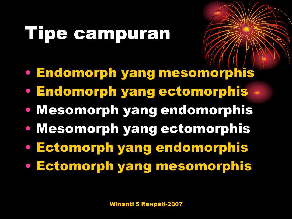 Winanti S Respati-2007 Tipe campuran Endomorph yang mesomorphis Endomorph yang ectomorphis Mesomorph yang endomorphis Mesomorph yang ectomorphis Ectom