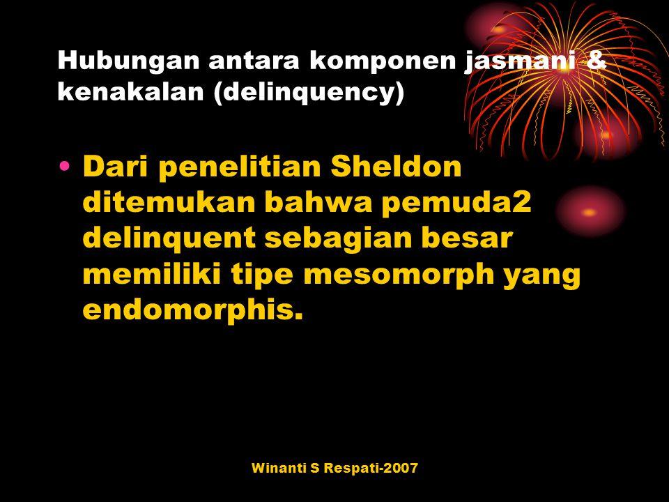 Winanti S Respati-2007 Hubungan antara komponen jasmani & kenakalan (delinquency) Dari penelitian Sheldon ditemukan bahwa pemuda2 delinquent sebagian
