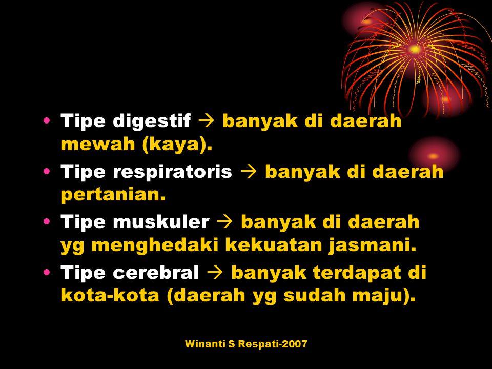 Winanti S Respati-2007 Tipe digestif  banyak di daerah mewah (kaya). Tipe respiratoris  banyak di daerah pertanian. Tipe muskuler  banyak di daerah