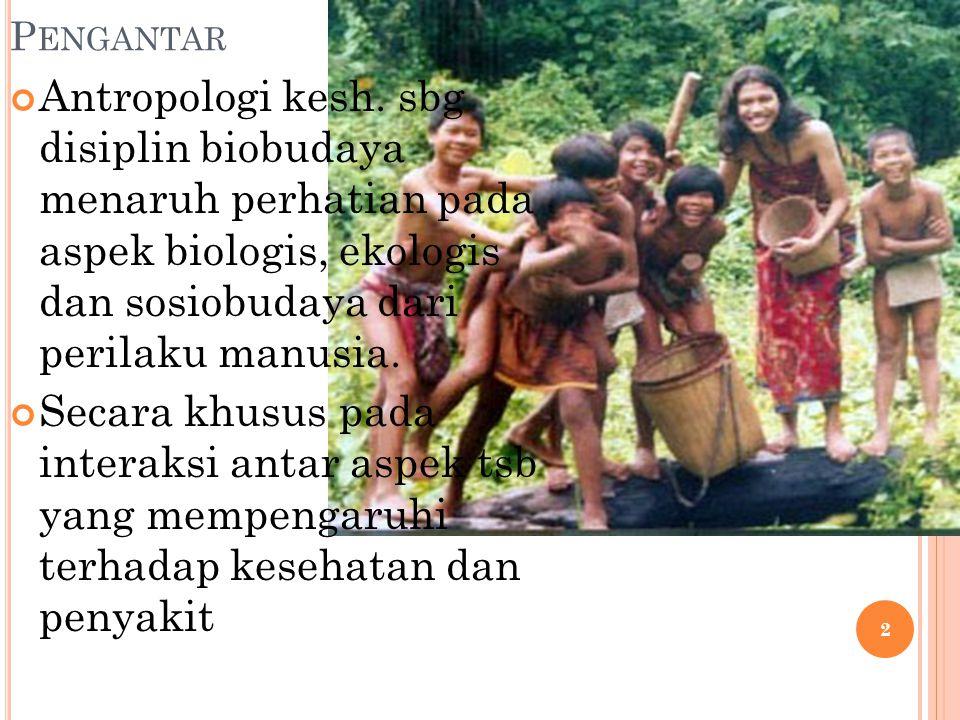 Antropologi kesehatan membantu mempelajari aspek sosio-kultur di masyarakat yang berhubungan sakit-sehat terkait budaya diantaranya 1.