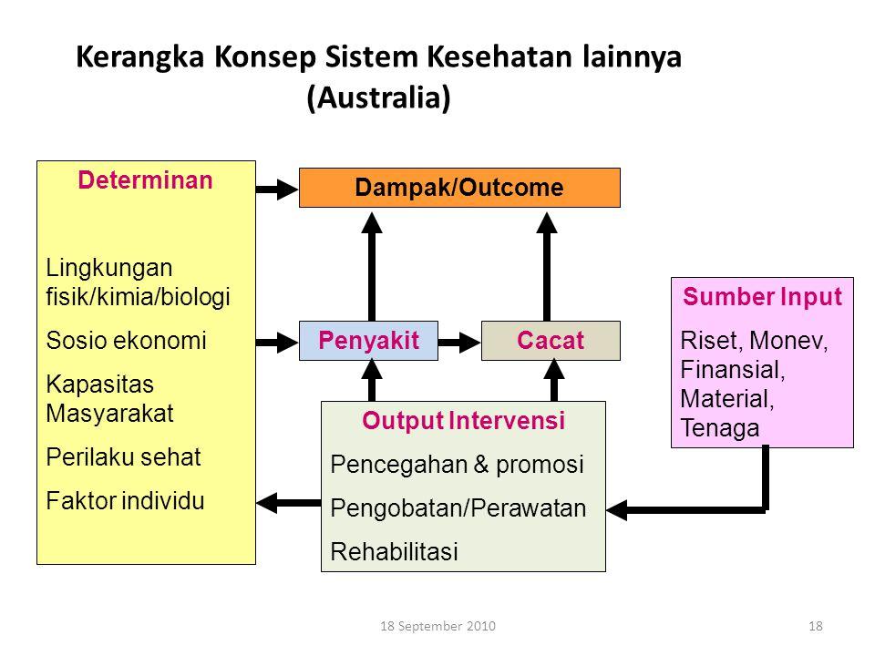 18 Kerangka Konsep Sistem Kesehatan lainnya (Australia) Determinan Lingkungan fisik/kimia/biologi Sosio ekonomi Kapasitas Masyarakat Perilaku sehat Fa